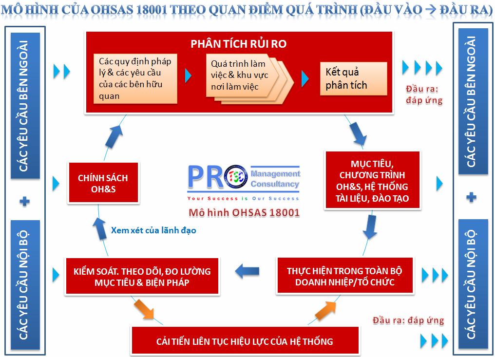 Mô hình OHSAS 18001:2007 được trình bày theo quan điểm quá trình